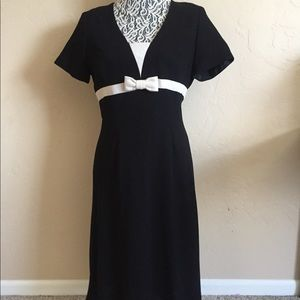Woman's  black and white business casual dress